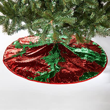 Christmas Tree Bill.Christmas Tree Skirt Magic Reversible Sequin Holiday Decoration Red Green