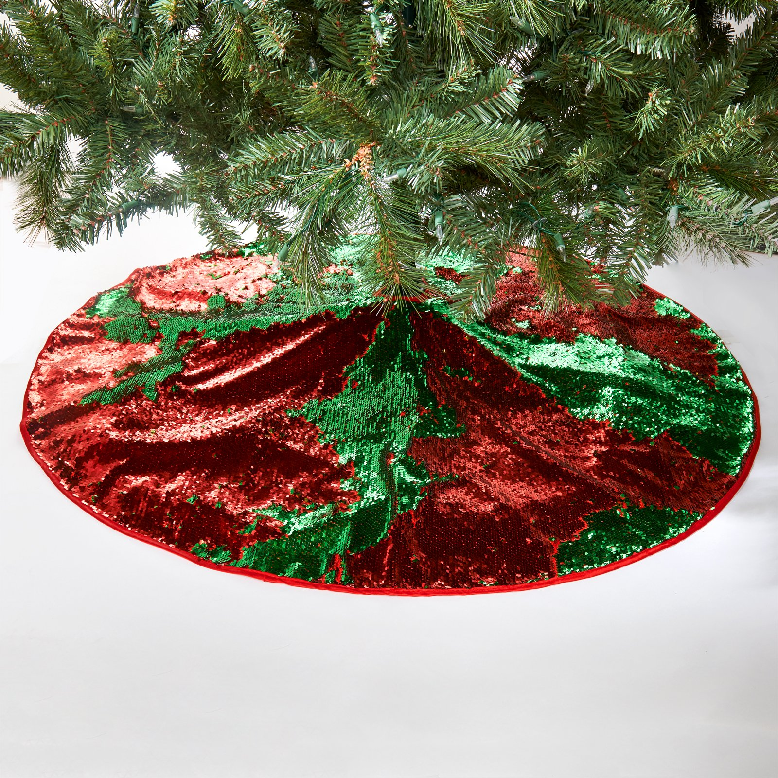 Christmas Tree Skirt Magic Reversible Sequin Holiday Decoration - Red/Green
