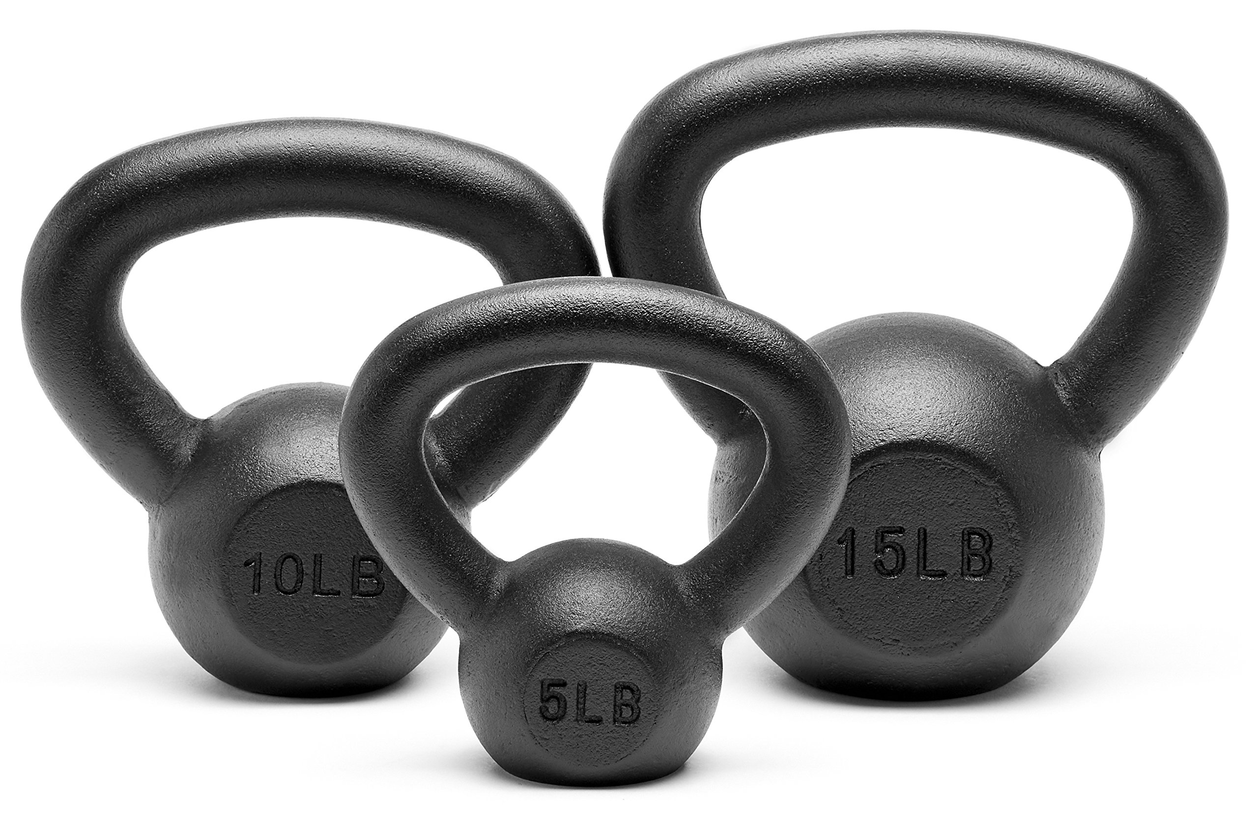 Unipack Powder Coated Solid Cast Iron Kettlebell Weights Set- (5+10+15 lbs)
