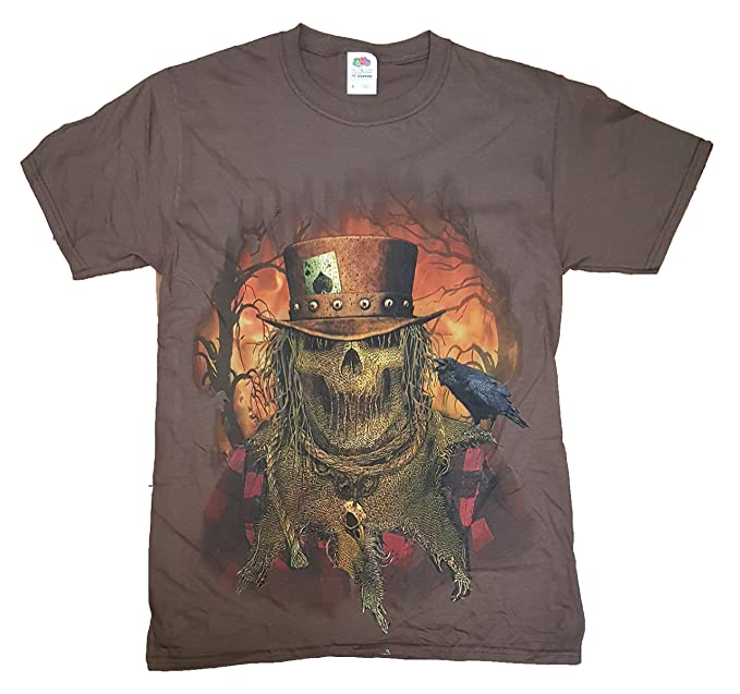 4c835f514b103 Halloween Mens Brown Evil Scarecrow Graphic T-Shirt