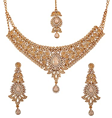 Touchstone Indian bollywood white rhinestones bridal jewelry necklace set in antique gold tone for women oKrYWp