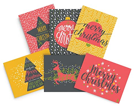Amazon merry christmas greeting cards fun and colorful happy merry christmas greeting cards fun and colorful happy holiday cards 24 xmas cards m4hsunfo
