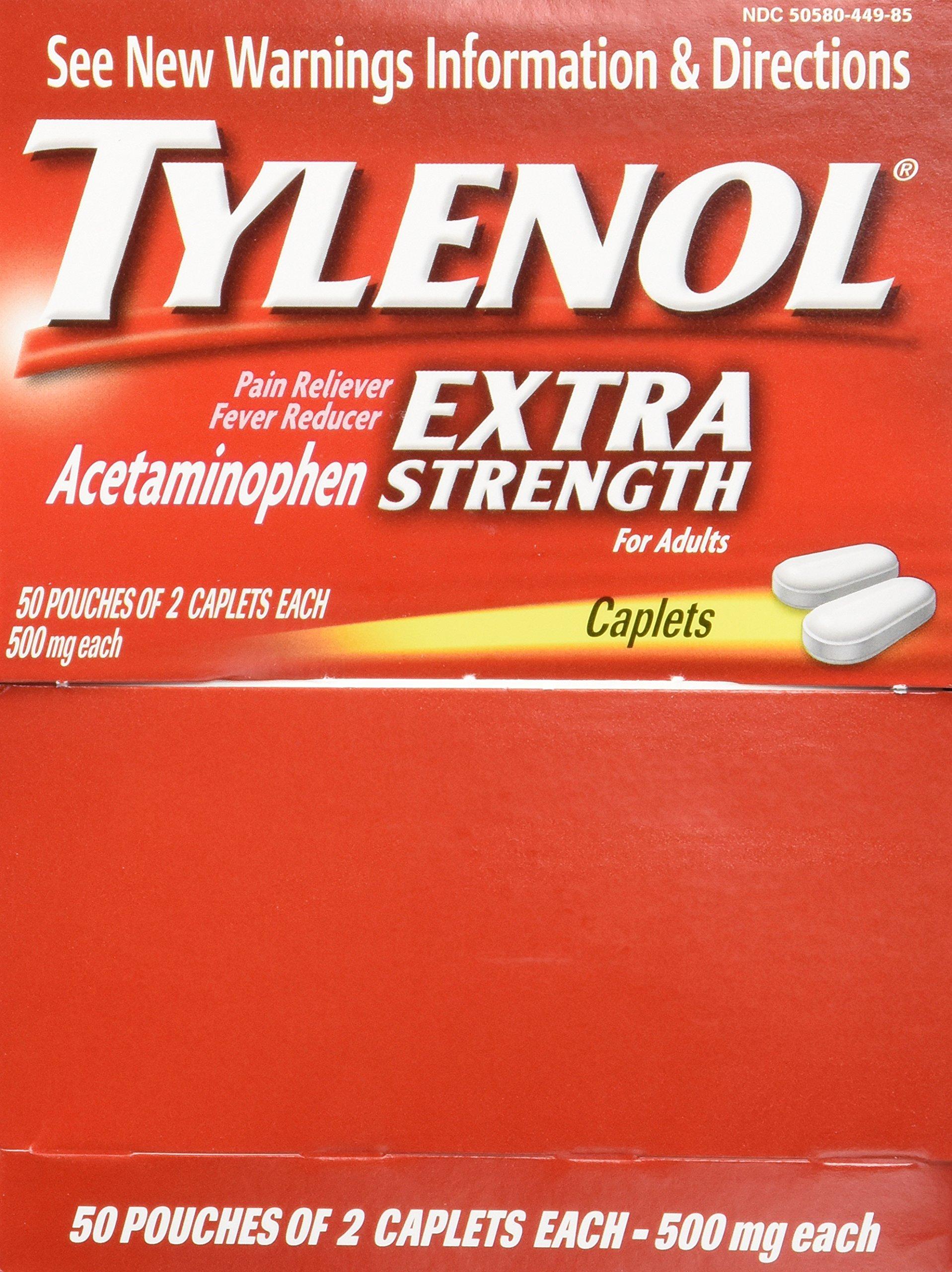 Tylenol(R) Extra-Strength, 2-Caplet Dosage, 100 caplets per box (Pack of 2)500mg each