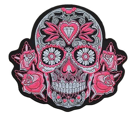 Parche Calavera Rosa Cráneo - 22.1 cm x 24 cm XL Tamaño Grande - Parche para
