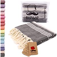 Bazaar Anatolia Stripe Turkish Towel 100% Cotton Peshtemal Bath Towel 75x38 Thin Lightweight Travel Camping Bath Sauna Beach Gym Pool Blanket Fouta Quick Dry Towels (Black)