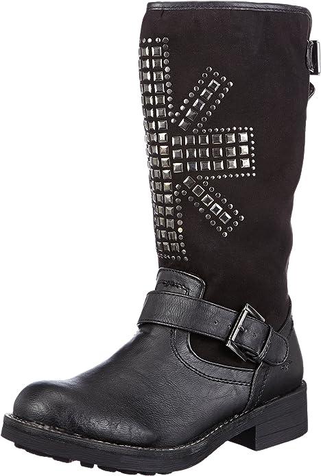 2 Mustang Damen Biker Boots Gefüttert Stiefeletten Stiefel Schwarz Gr 37