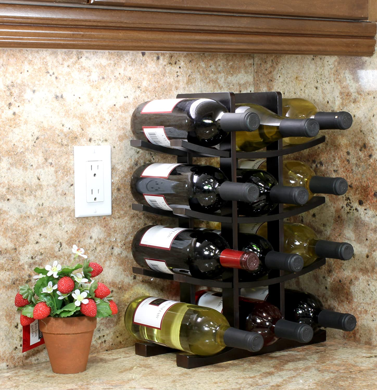 Dark Espresso 15.75 H x 5.75 D x 11.75 W, 2-Pack 12-Bottle Bamboo Wine Rack