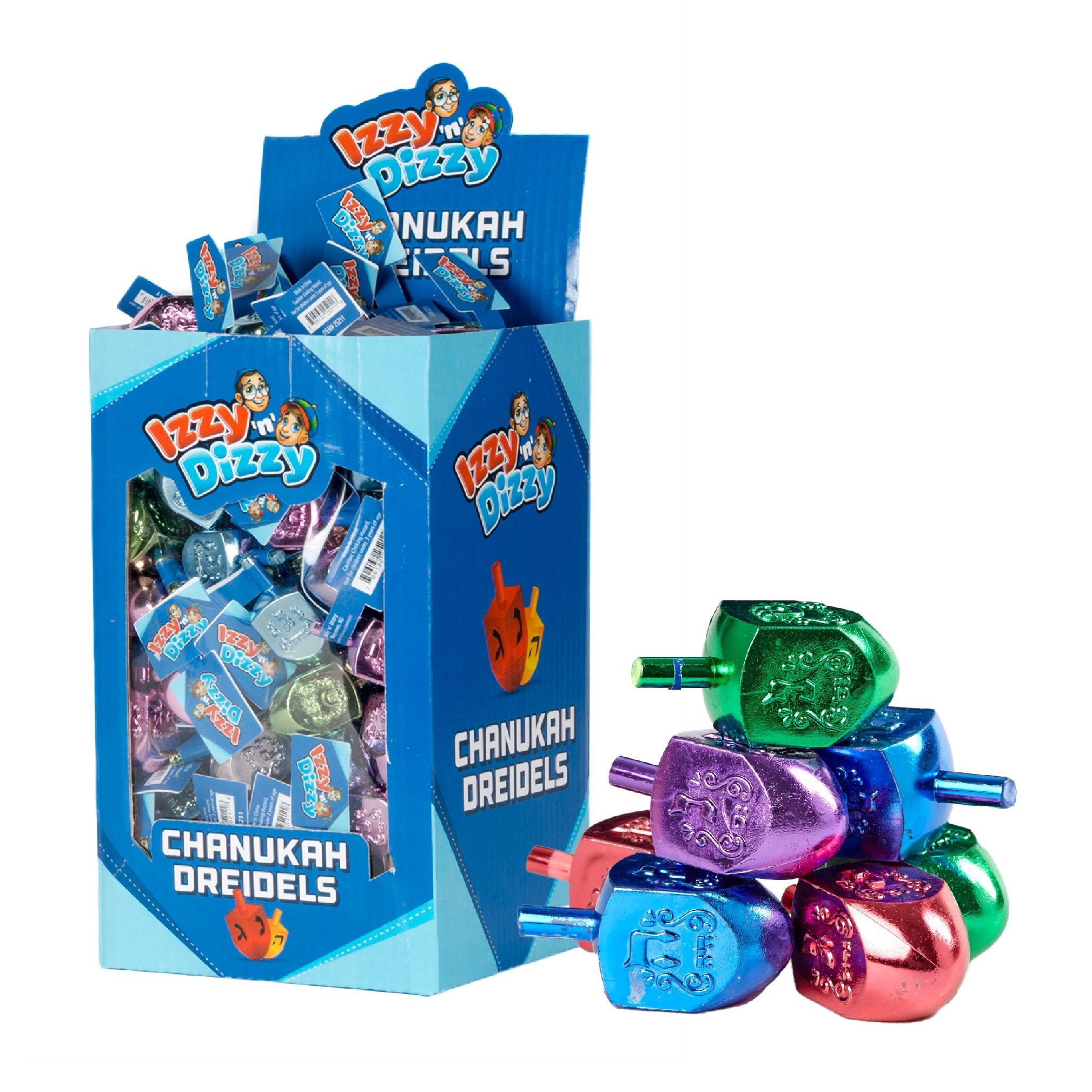 50 Large Dreidels - Metallic Colored - Classic Chanukah Spinning Draidel Game, Gift and Prize - Bulk Value Pack - By Izzy n Dizzy by Izzy 'n' Dizzy