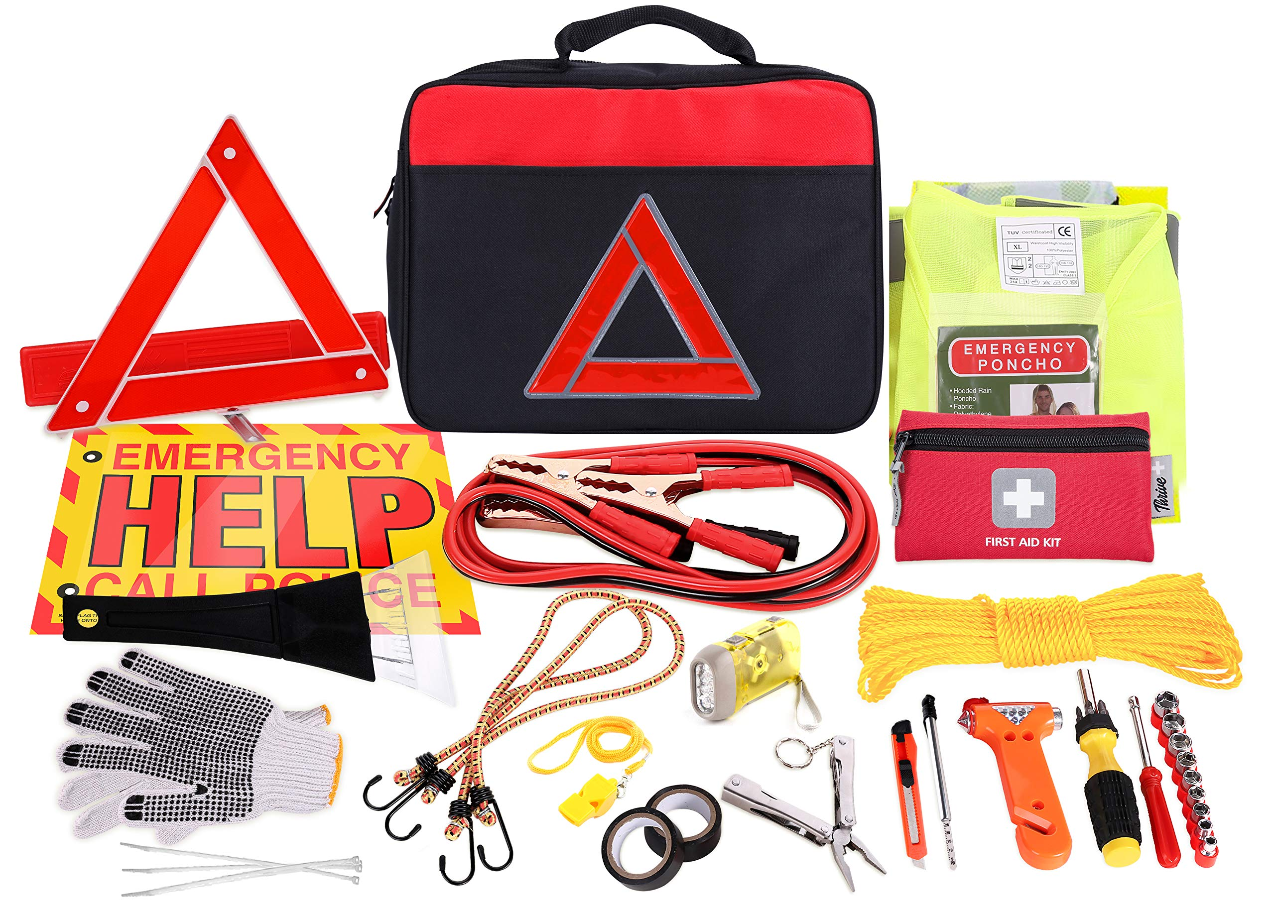 Ideal Winter Accessory for Your car Truck First Aid Kit Camper Thrive Roadside Assistance Auto Emergency Kit Contains Jumper Cables Case Reflective Safety Triangle and More Tools