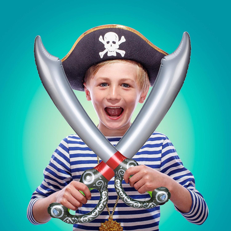 L: 67cm Colorato Bambini unisex Spada Multicolore Halloween Relaxdays Sciabola Gonfiabile dei Pirati 10024266 Piratens/äbel Bambini /& Adulti Carnevale