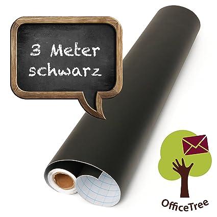 OfficeTree Lámina negra de pizarra, rollo de 300 cm - autoadhesivo - 43 cm de ancho - Escriba, dibuje y pinte con tiza - Diseño interior DIY ...