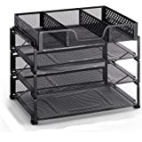 Simple Trending 3-Trays Stackable Office Desk Supplies Organizer with Drawer Organizer, Desktop Letter/A4 FileTray Holder Organizer, Black
