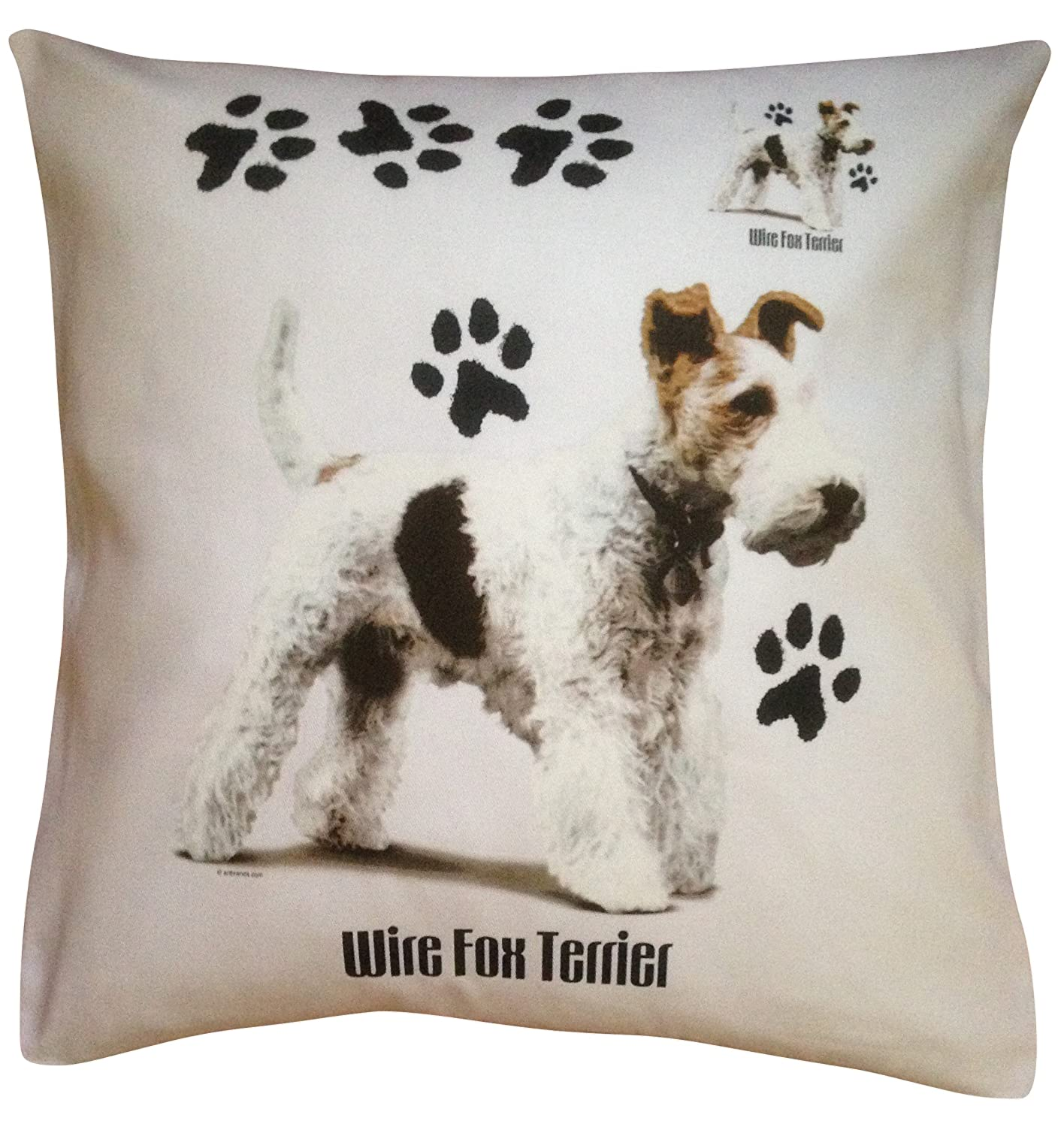 Wirefox Wire Fox Terrier Paws Breed of Dog Themed Cotton Cushion ...