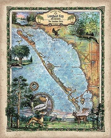 Map Sarasota Florida.Amazon Com Great River Arts Sarasota Longboat Key Sarasota