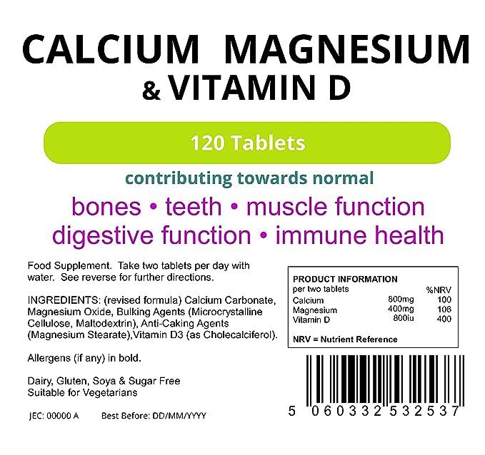 Lindens - Calcio Magnesio y Vitamina D - 120 Tabs: Amazon.es: Salud y cuidado personal