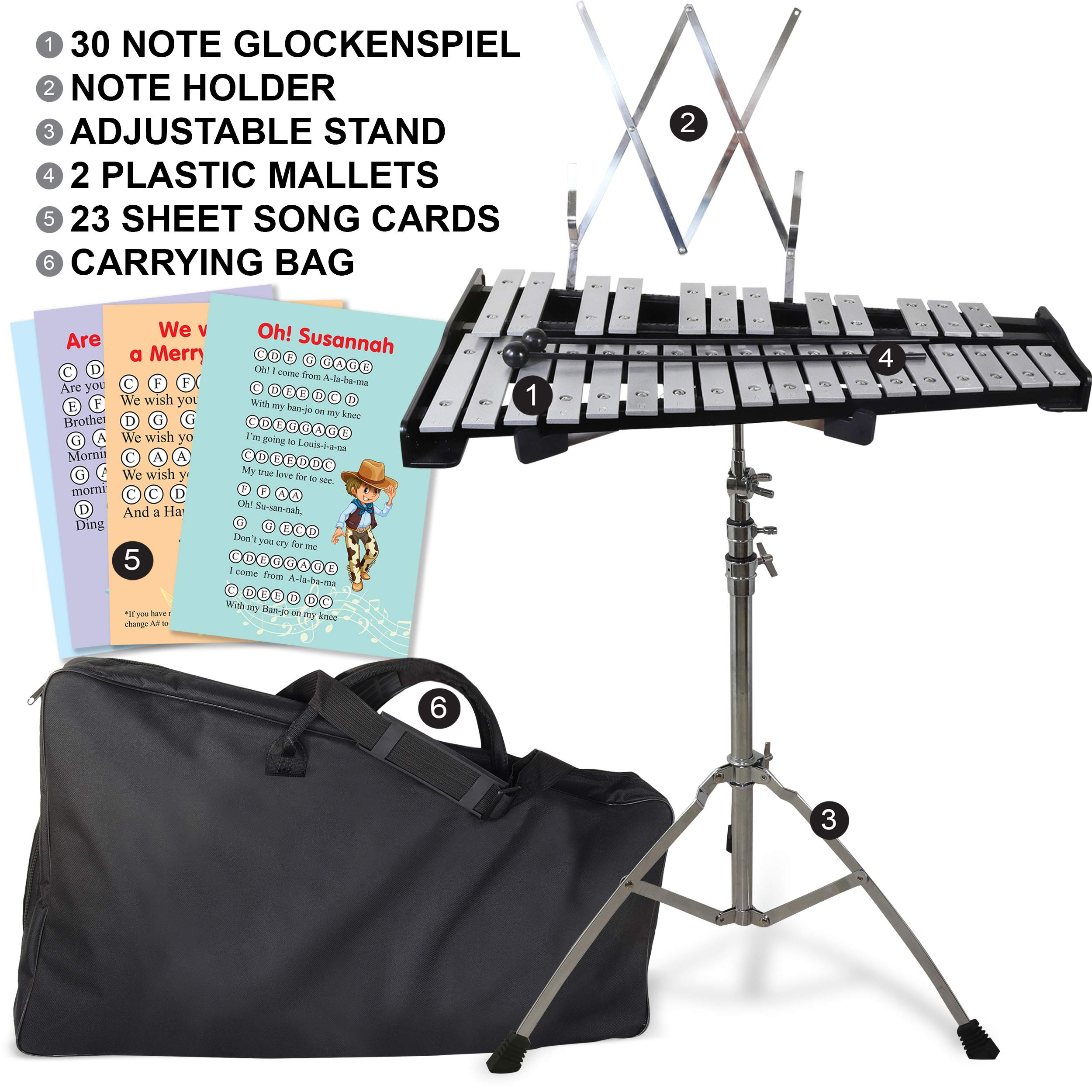 30 note Professional Glockenspiel - Metal Bell Kit Xylophone with Stand, Note Holder and Carrying Bag by inTemenos (Image #7)