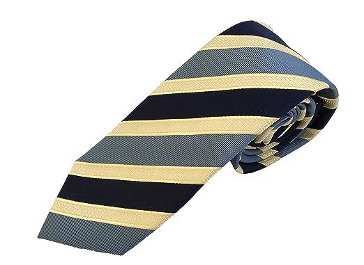 Corbata seda lujo - Corbata rayas azul - corbatas de hombre ...