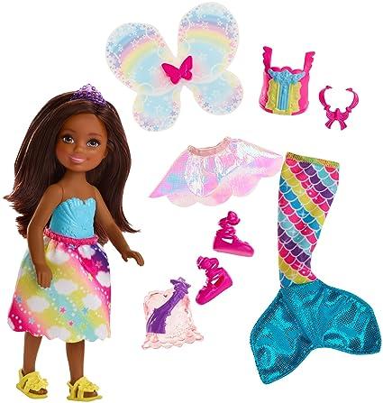 Barbie Dreamtopia, muñeca morena Chelsea sirena, juguete +3 años (Mattel FJD01)
