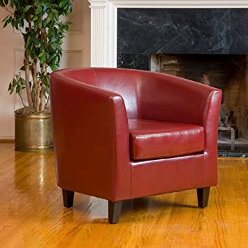 Delightful Petaluma Oxblood Red Leather Club Chair