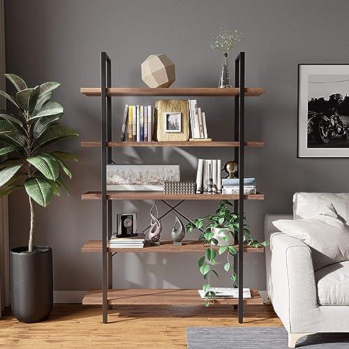 5-Tier Bookshelf Bookcase Organizer Large Open Bookshelf Vintage Industrial Style Shelves Wood Metal bookcases Furniture Perfect