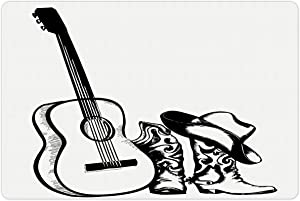 Lunarable Western Pet Mat for Food and Water, Country Music Theme with Cowboy Shoes Hat and Guitar Instrument Sketch Art, Rectangle Non-Slip Rubber Mat for Dogs and Cats, Black and White