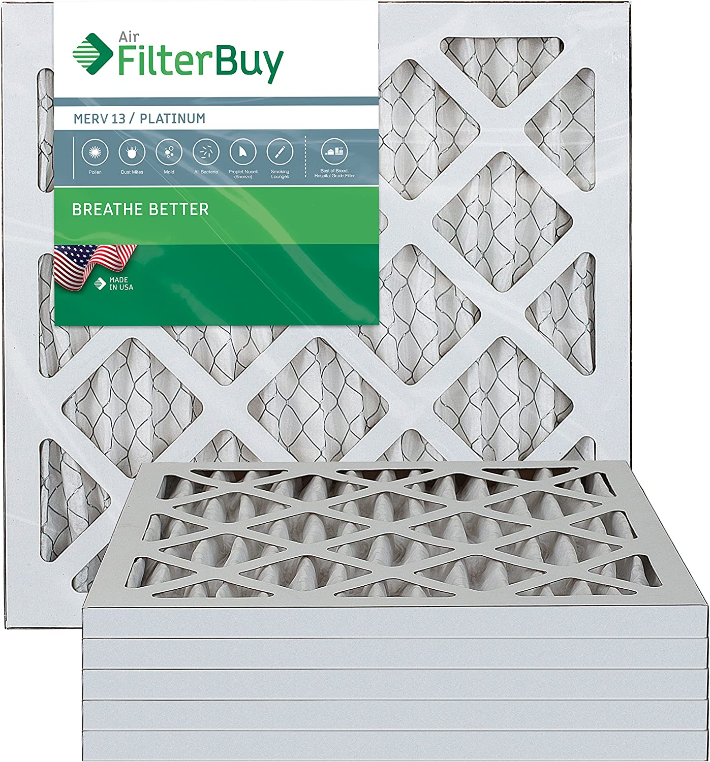 FilterBuy 12x12x1 MERV 13 Pleated AC Furnace Air Filter, (Pack of 6 Filters), 12x12x1 – Platinum