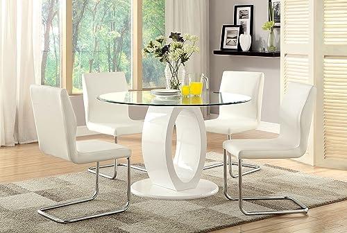 Furniture of America Quezon 5-Piece Round Glass Top Pedestal Dining Set