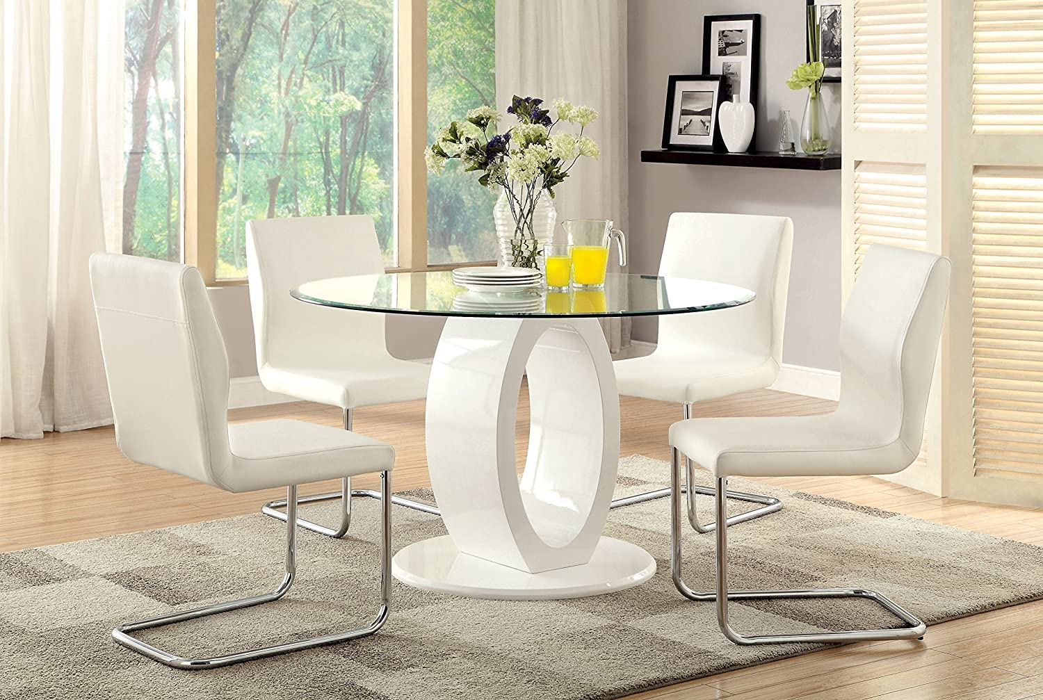 Amazoncom Furniture Of America Quezon Piece Round Glass Top - Round dining room table with 4 chairs