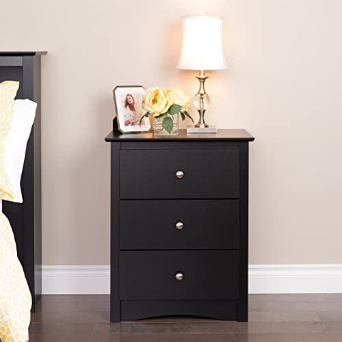 Prepac Sonoma Nightstand, Tall 3-Drawer, Black