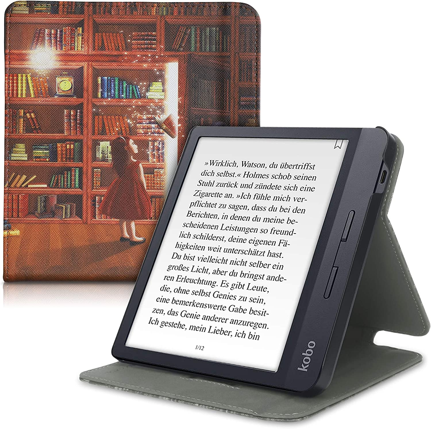 kwmobile Cover Compatible with Kobo Libra H2O Magical Library Multicolor PU Leather e-Reader Case