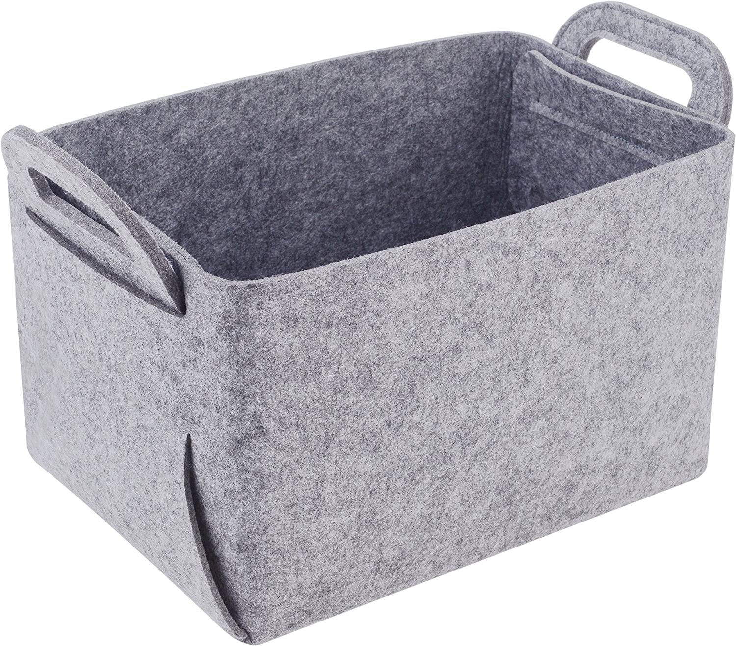 Storage Basket Felt Storage Bin Collapsible & Convenient Box Organizer with Carry Handles for Office Bedroom Closet Babies Nursery Toys DVD Laundry Organizing
