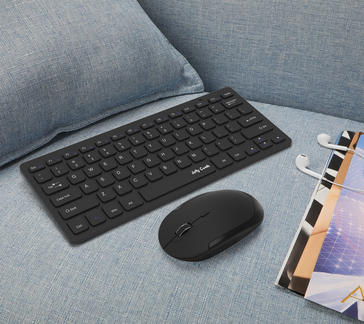 Wireless Keyboard Mouse, Jelly Comb 2.4GHz Ultra Thin Compact Portable SMALL Wireless Keyboard and Mouse Combo Set for PC, Desktop, Computer, Notebook, Laptop, Windows XP/Vista / 7/8 / 10 - Black by Jelly Comb (Image #9)