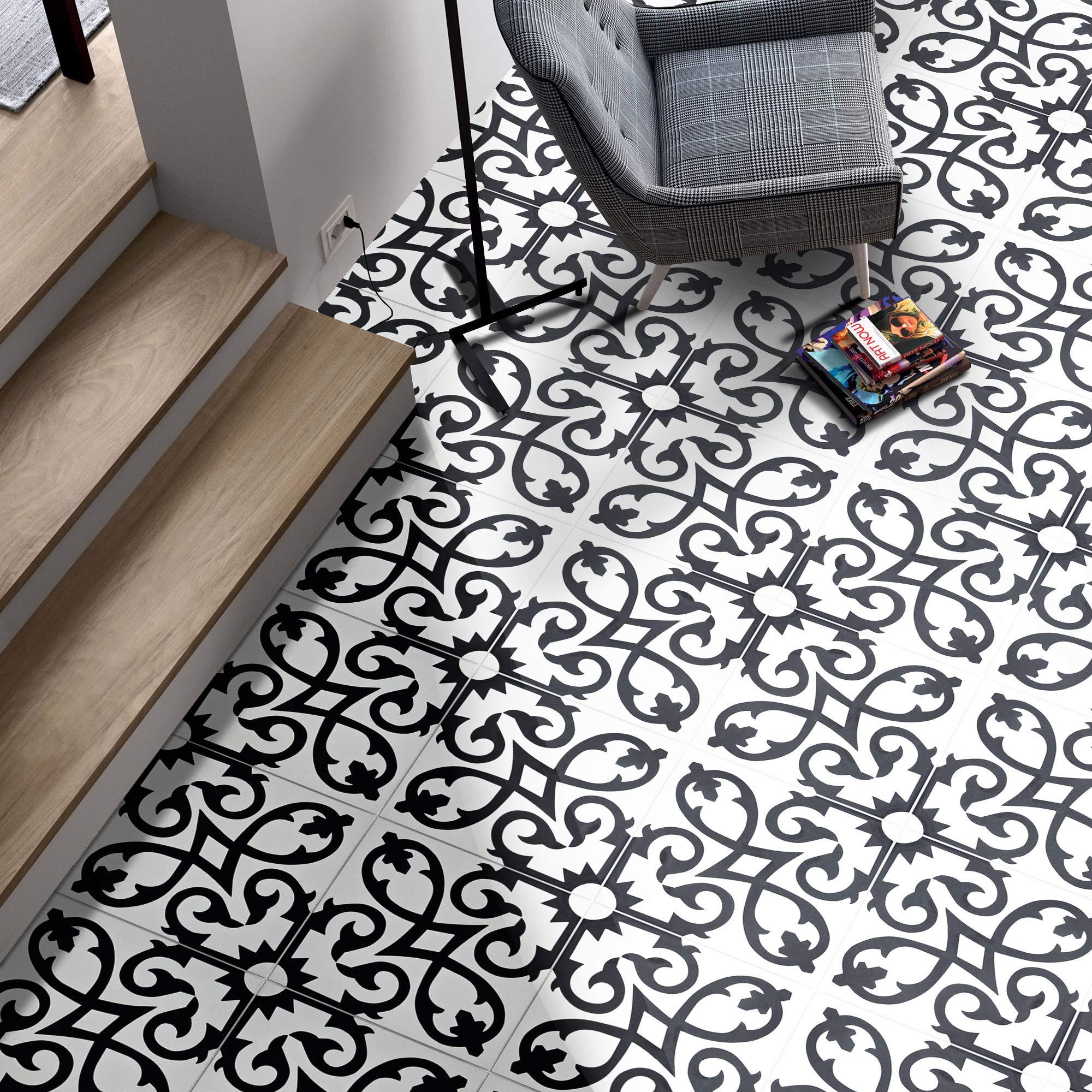 Moroccan Mosaic & Tile House CTP01-07 AgadirCTP01-07 Agadir Handmade Cement Tile, 8'' x 8'', Black/White, 12 Piece