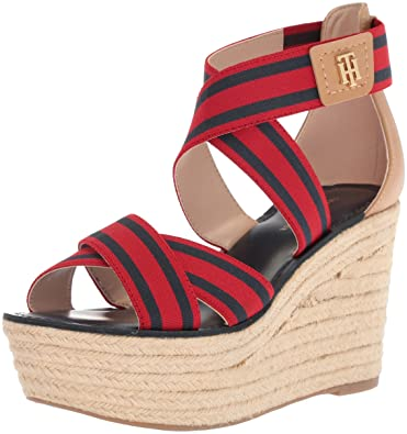 1f9cac140 Tommy Hilfiger Women's Theia Espadrille Wedge Sandal, red/Navy, 6 Regular US