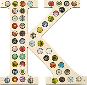 CAPLORD Beer Cap Holder - Wall Decor Monogram Letter - Birthday Gifts for Men and Women (Letter K)