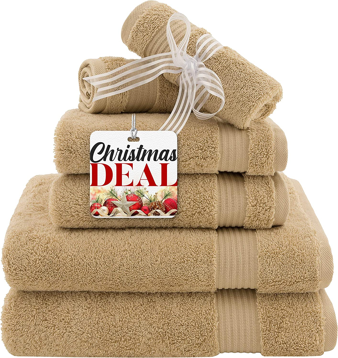 Super Absorbent and Soft Hotel & Spa Quality, Cotton, 6 Piece Turkish Towel Set for Kitchen and Decorative Bathroom Sets Includes 2 Bath Towels 2 Hand Towels 2 Washcloths, Sand Taupe