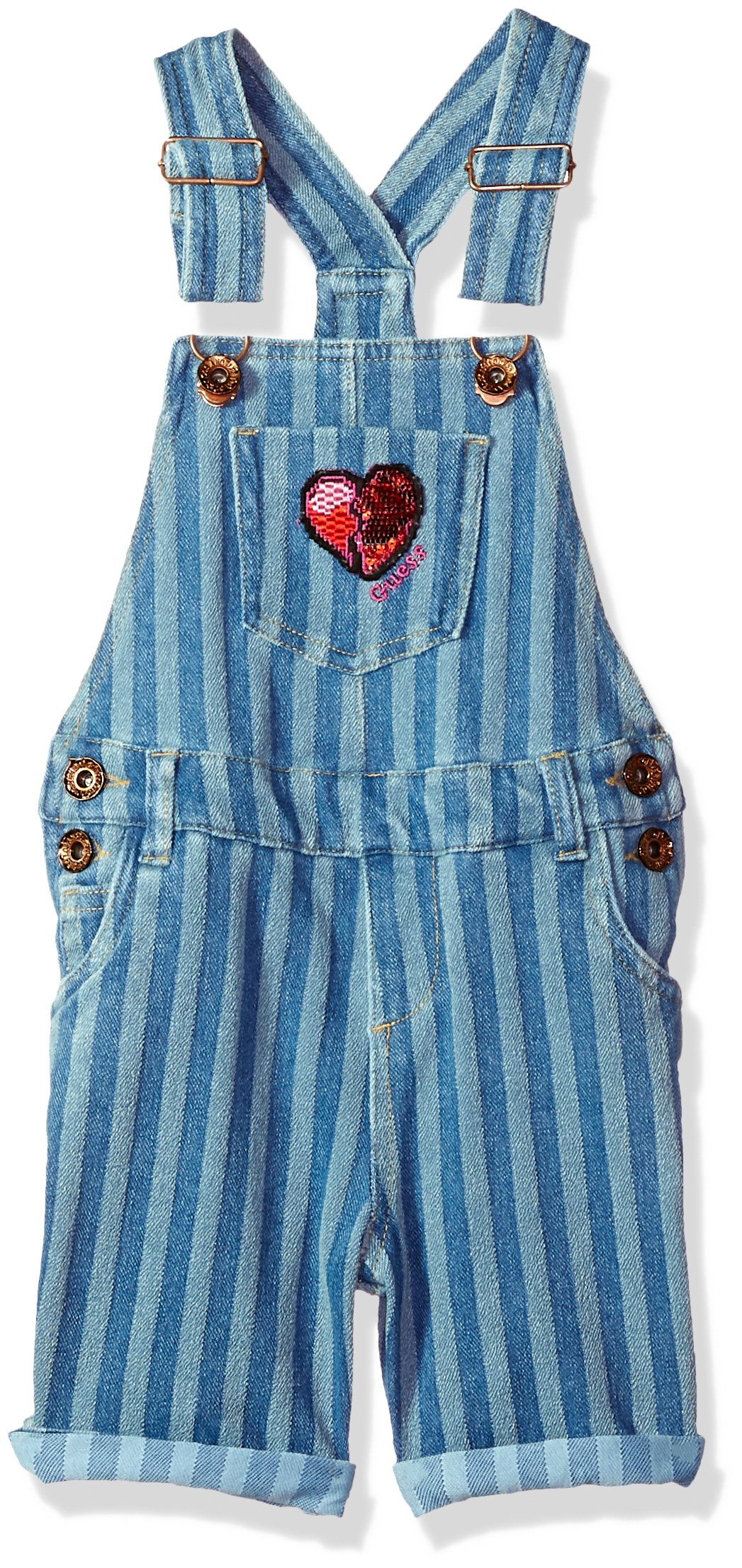 GUESS Girls' Little Denim Shortall, ENZIME Stripe WASH, 5 by GUESS (Image #1)