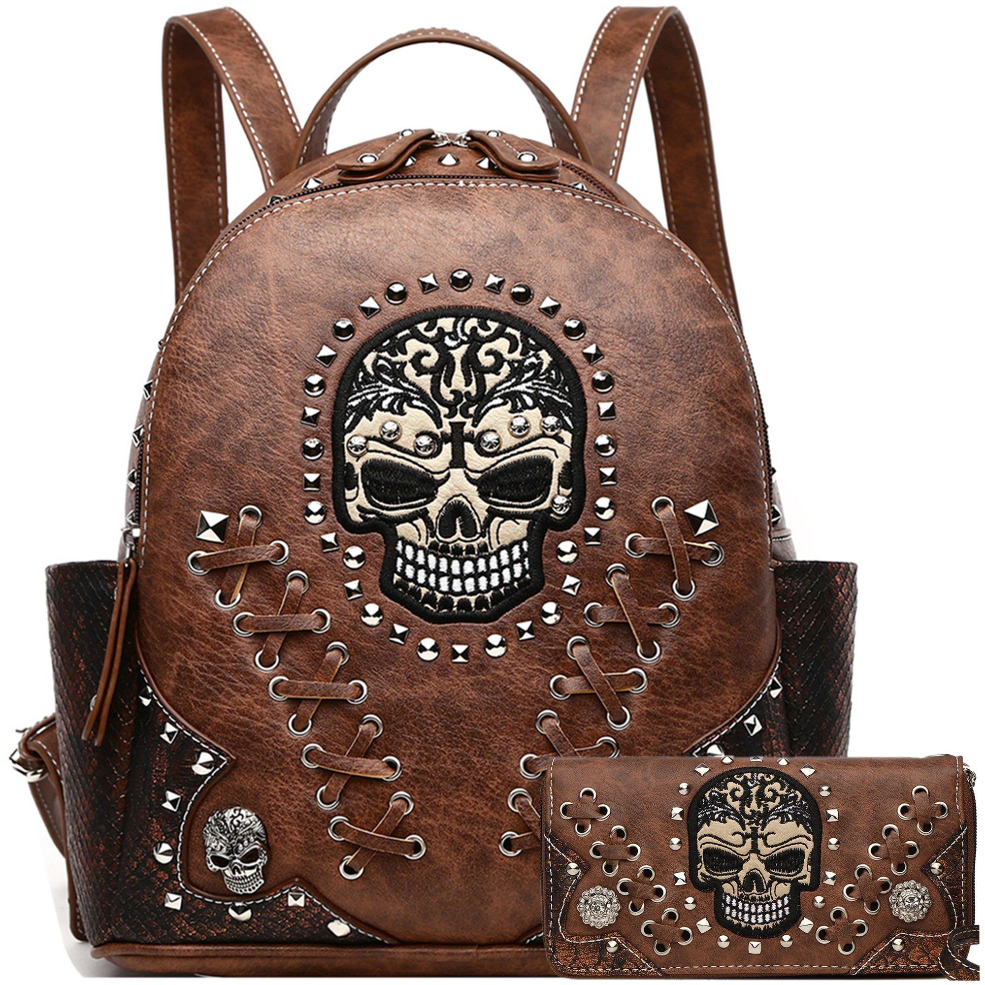 Sugar Skull Punk Art Rivet Stud Biker Purse Women Fashion Backpack Python Daypack Shoulder Bag Wallet Set (Brown Set)