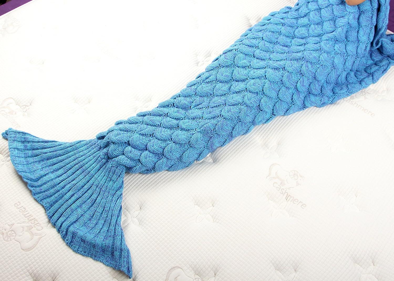 Yier® Mermaid Tail Adulto manta crochet Adolescentes sala de estar ...