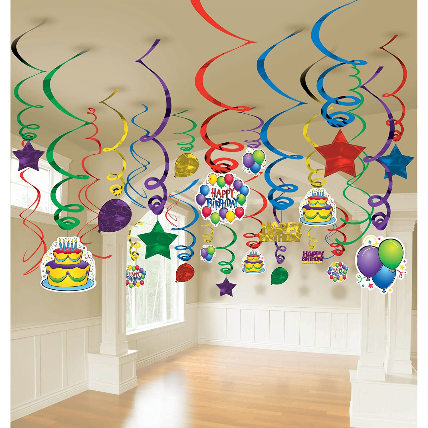 Party Decoration Part - 25: Amazon.com: Balloon Fun Mega Value Pack Swirl Decorations (50) Party  Supplies: Toys U0026 Games