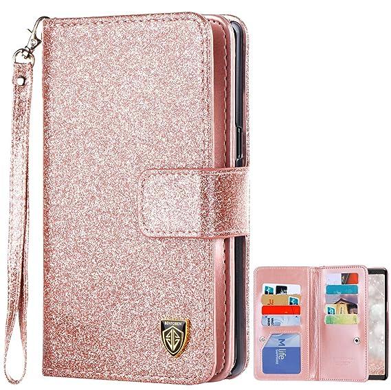 reputable site 0241a 57ed5 BENTOBEN Samsung Note 8 Case, Galaxy Note 8 Case Wallet Flip, Samsung Note8  Case Bling Glitter 9 Card Holder PU Leather Detachable Wrist Strap Wallet  ...