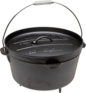Old Mountain Pre Seasoned 12-Quart Camp Oven with Flanged Lid, Feet and Spiral Bail Handle