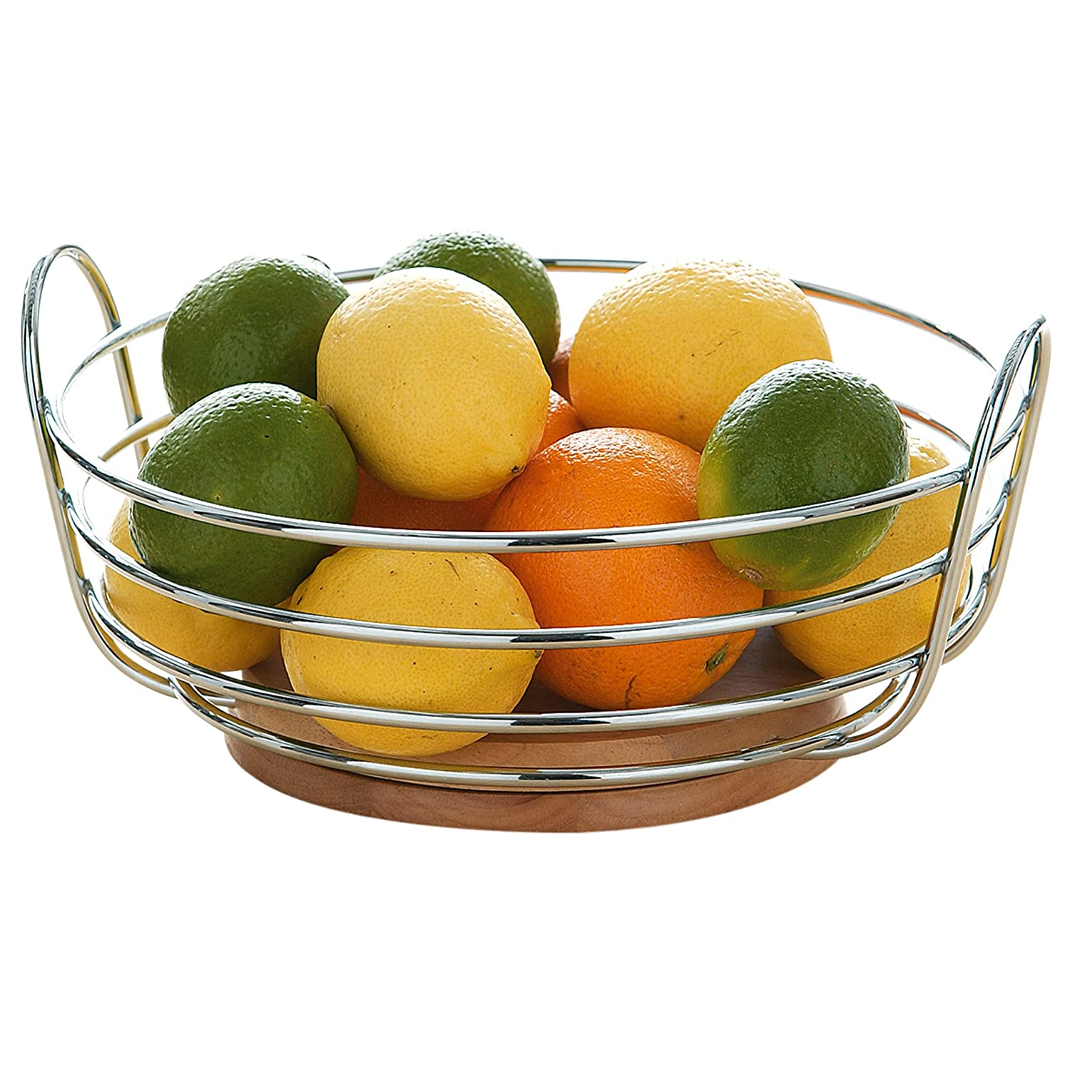 Premier Housewares Round Chrome Wire Fruit Bowl with Rubber Wood ...