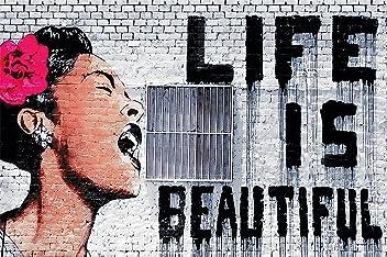 Poster Banksy Graffiti Künstler Wandbild Dekoration Life is Beautiful Pop Art Street Style Street Art Stencil Straßenkünstler | Fotoposter Wanddeko Bild Wandgestaltung by GREAT ART (140 x 100 cm)