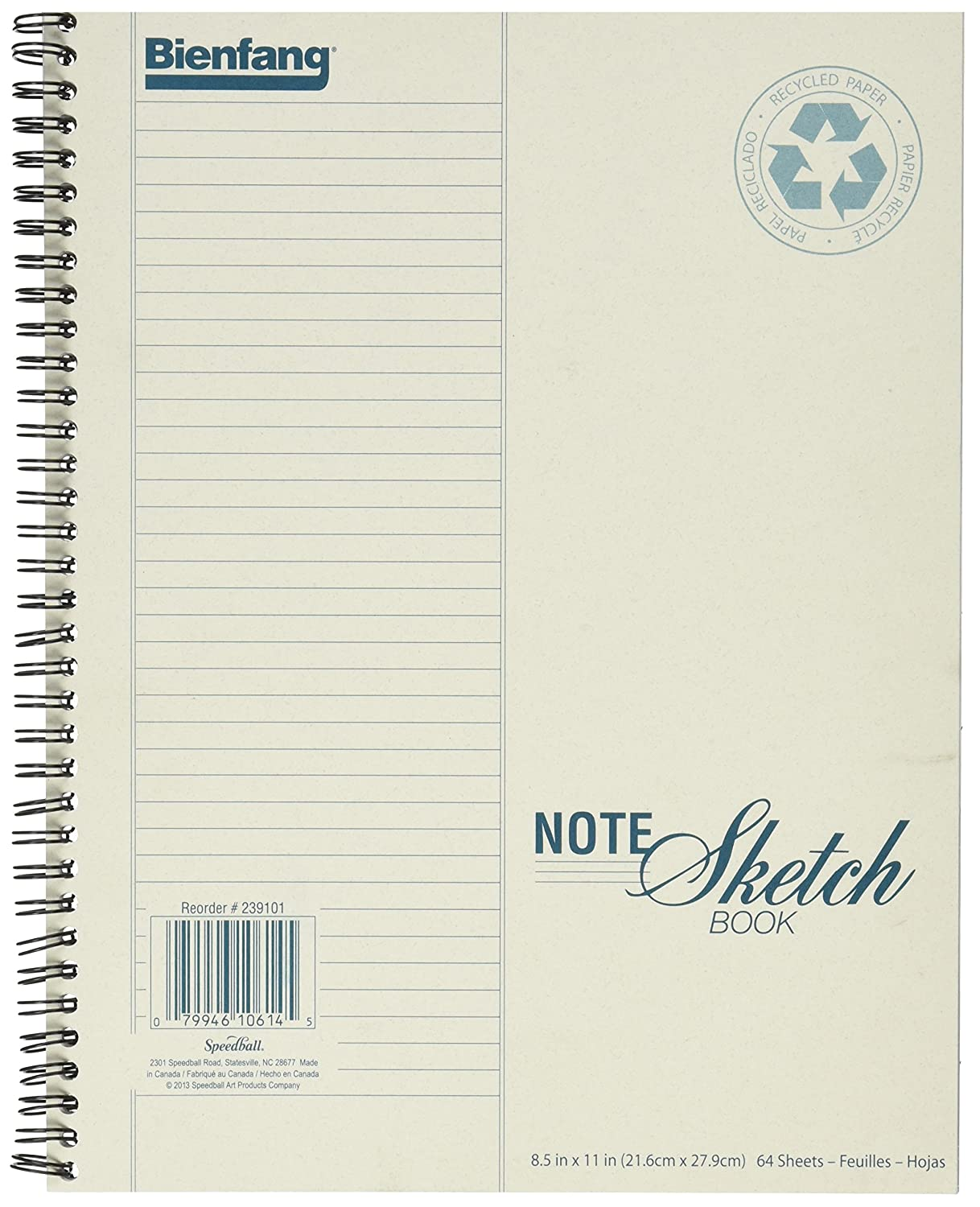 Bienfang Notesketch Paper Pad, Vertical Lined, 64 Sheets, 8.5-Inch by 11-Inch 239101
