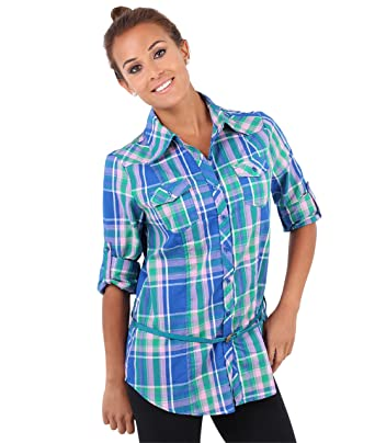 d8cd031797da6 KRISP Women s Shirt Checkered Classic Long Sleeve Blouse Black black 18 -  Blue - 18  Amazon.co.uk  Clothing