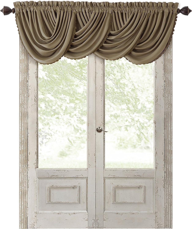 Amazon Com Elrene Home Fashions All Seasons Room Darkening Rod Pocket Waterfall Window Valance 52 X 36 1 Gold Home Kitchen
