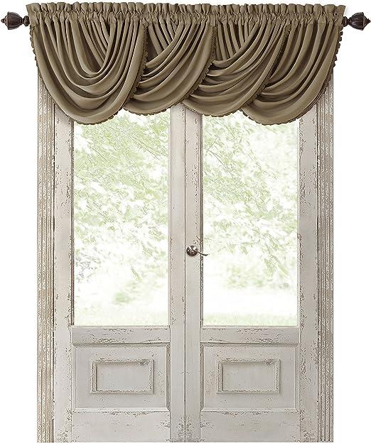 Rouge Elrene Home Fashions Rod Pocket Damask Window Valance with Tassels 1 Valance 52 Wx19 L