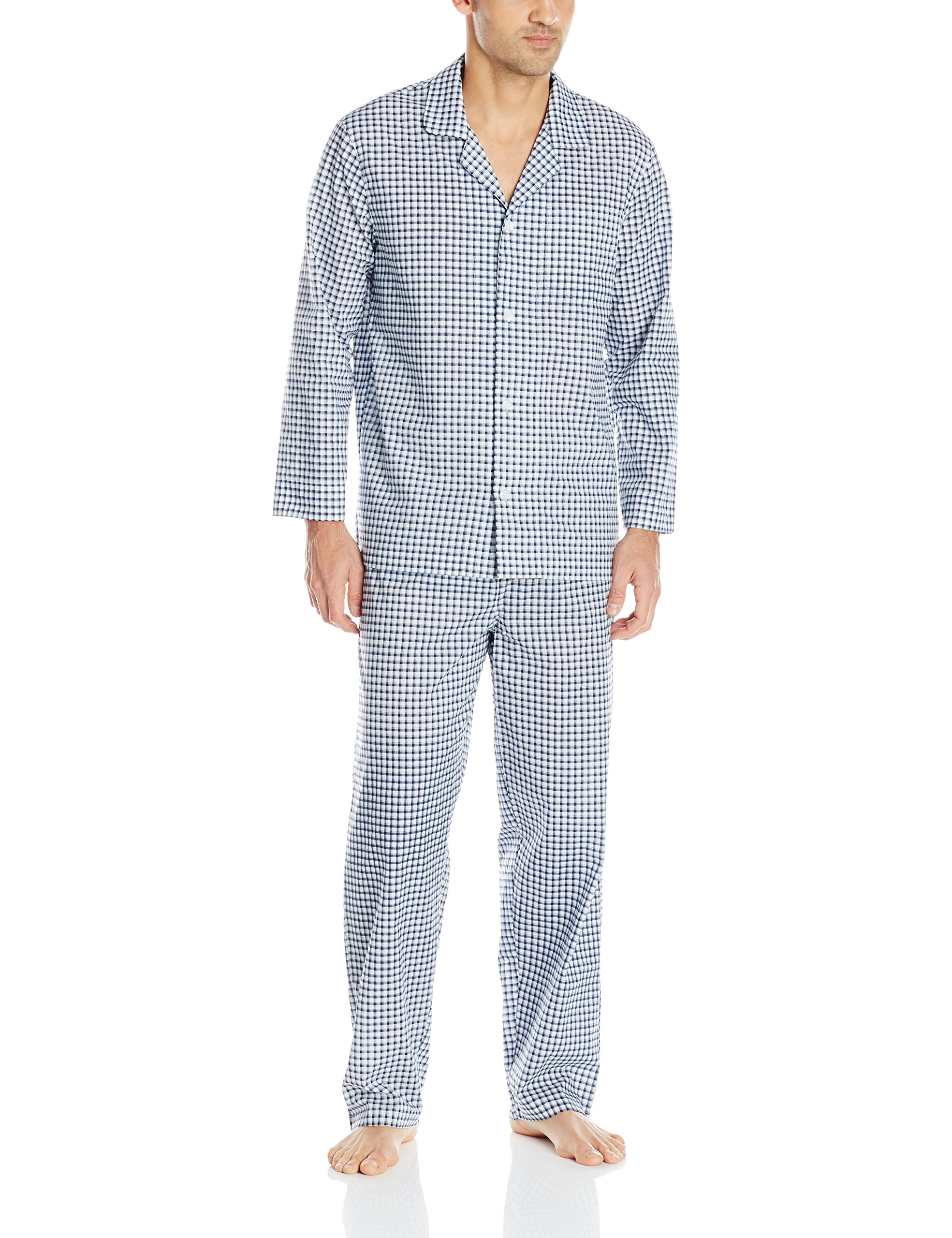 Fruit of the Loom Men's Long Sleeve Broadcloth Pajama Set,Navy Check, Large
