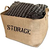 "OrganizerLogic Storage Bins - 17 x 13 x 10"" Bin - Large Jute Storage Baskets - Help You Organize Toys, Laundry, Clothes, Baby Nursery, Kids Rooms, Basket for Toy Box"